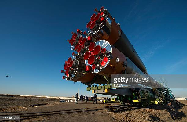 The Soyuz TMA16M spacecraft is rolled out by train to the launch pad at the Baikonur Cosmodrome Kazakhstan Wednesday March 25 2015 NASA Astronaut...