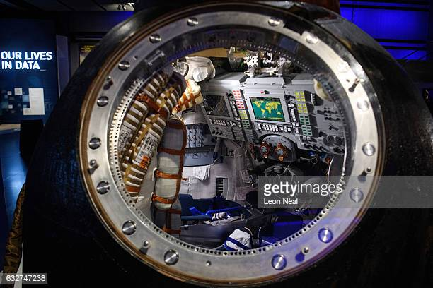 The Soyuz TMA19M descent module used by British astronaut Tim Peake to return from the International Space Station is unveiled at the Science Museum...