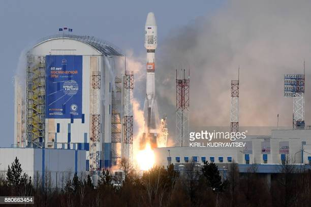 The Soyuz21b rocket carrying Russia's MeteorM 21 meteorological satellite lifts off from the launch pad at the Vostochny cosmodrome outside the city...