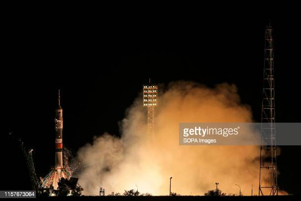 The SoyuzFG rocket booster with Soyuz MS13 spaceship carrying an Expedition 60 to the International Space Station ISS blasts off at the Russian...