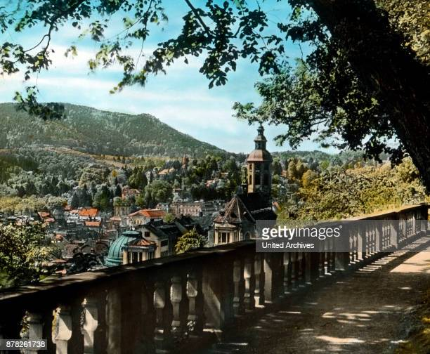 The spa town of Baden-Baden in the Black Forest. View from the palace terrace.