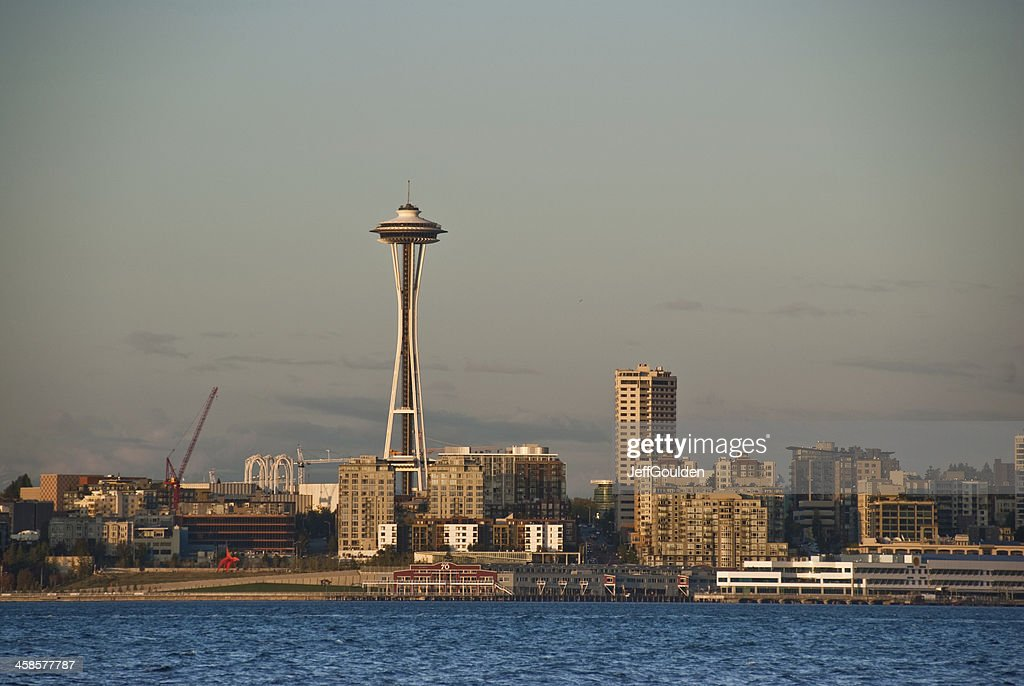 The Space Needle and Seattle Skyline at Dusk : Stock Photo