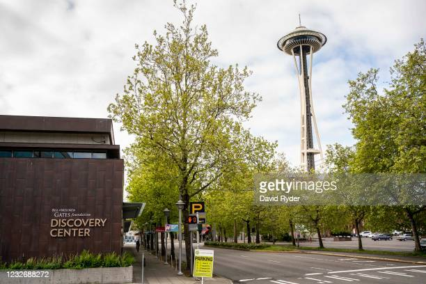 The Space Needle is seen near the Bill and Melinda Gates Foundation on May 4, 2021 in Seattle, Washington. Bill Gates and Melinda Gates announced...