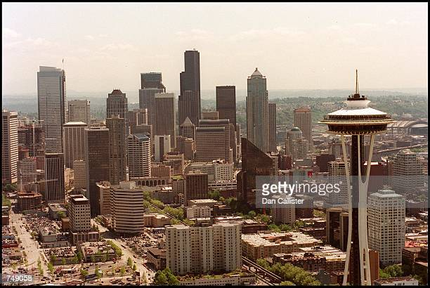 The Space Needle right is viewed May 30 2000 against the backdrop of downtown Seattle WA An earthquake measuring 68 in magnitude hit Seattle February...