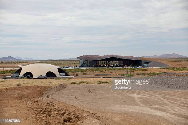 The Space Operations Center, left, and Terminal Hangar Facility stand at Spaceport America in Sierra County, New Mexico, U.S., on Thursday, July 14,...