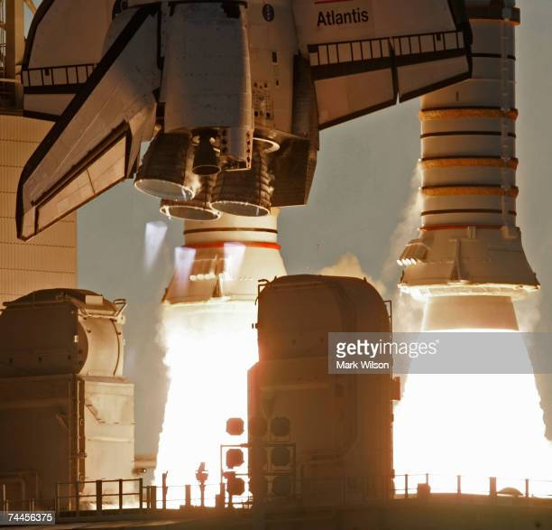 The Space Shuttle Atlantis lifts off from launch pad 39A on its way to the International Space Station June 8 2007 from Kennedy Space Center in Cape...