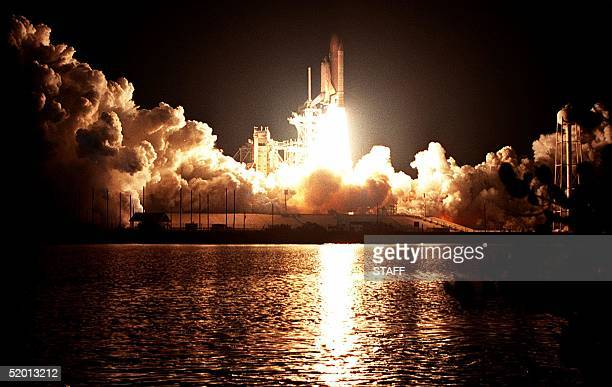 The Space Shuttle Atlantis liftsoff into the early morning sky 15 May from Kennedy Space Center's pad 39A to begin the sixth US docking mission to...
