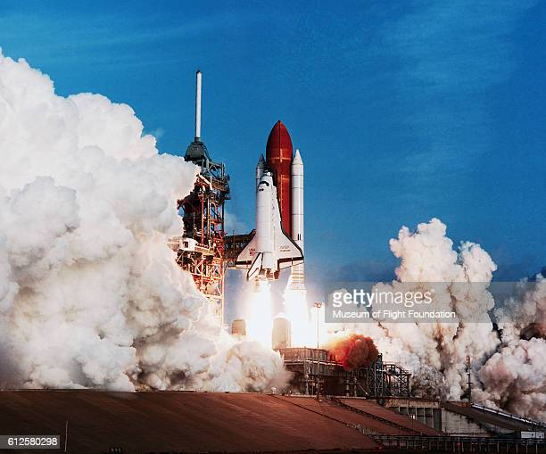 The Space Shuttle Challenger built by Rockwell blasts off from Complex 39 at the Kennedy Space Center in Florida on February 3 1984