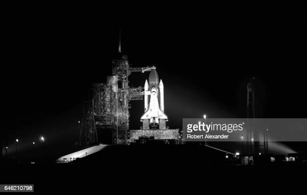 The Space Shuttle Challenger sits on its launch pad at Kennedy Space Center in Florida prior to its earlymorning launch on June 18 1983 STS7 was...