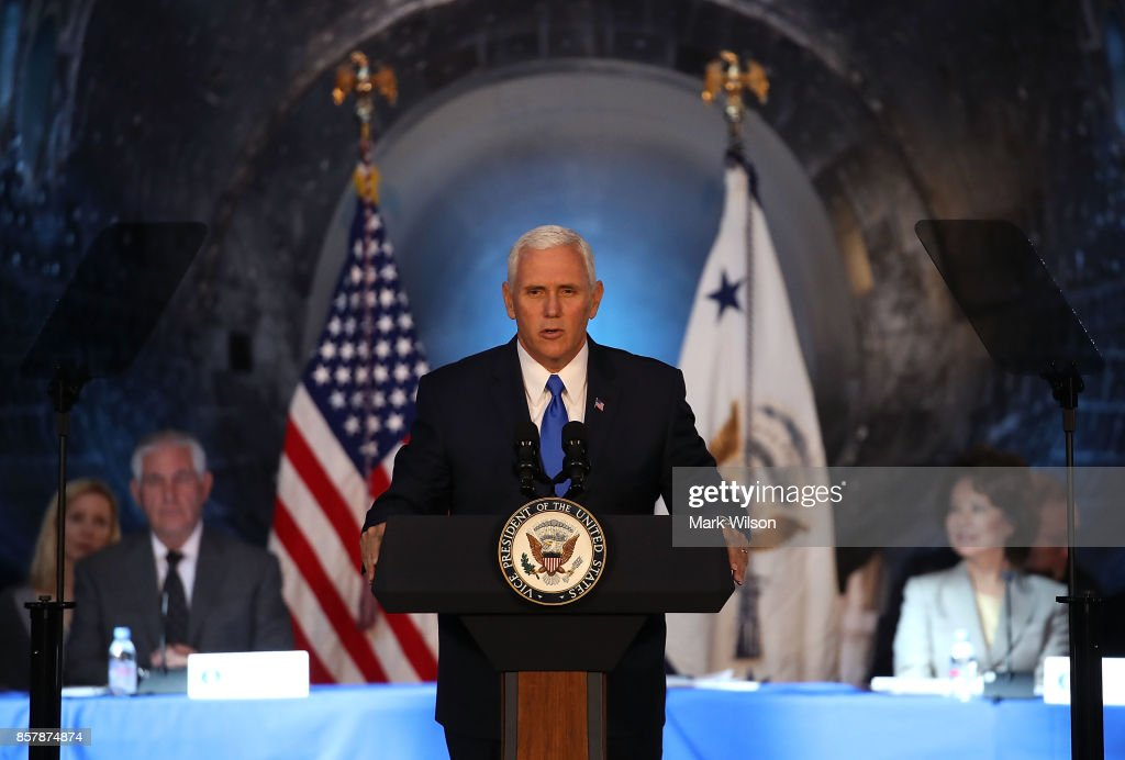 The Space Shuttle Discovery is the back drop as Vice President Mike Pence speaks during the inaugural meeting of the National Space Council on 'Leading the Next Frontier' at the National Air and Space Museum, Steven F. Udvar-Hazy Center, October 5, 2017 in Chantilly, Virginia. Originally established in 1958, this is the first meeting of the newly reestablished council in 20 years.