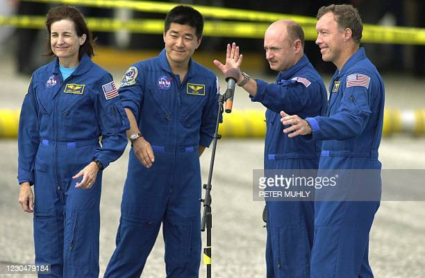 The space shuttle Endeavour crew Mission Specialist Linda Godwin, Mission Specialist Daniel Tani, Shuttle Pilot Mark Kelly and Mission Commander...