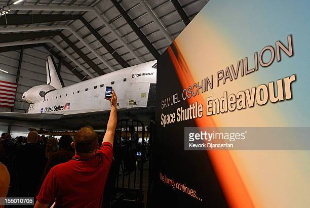 The space shuttle Endeavour exhibit opens to the public with a grand opening ceremony at the new Samuel Oschin Pavilion of the California Science...
