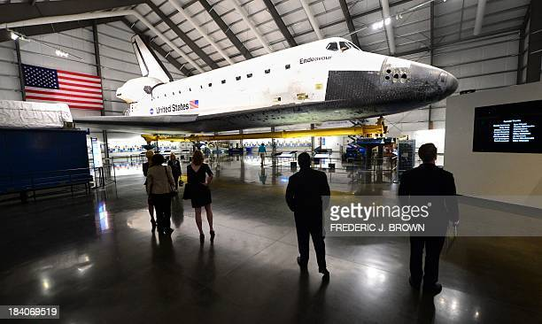 The Space Shuttle Endeavour is on display at the Samuel Oschin Pavilion at the California Science Center during a media preview ahead of the opening...