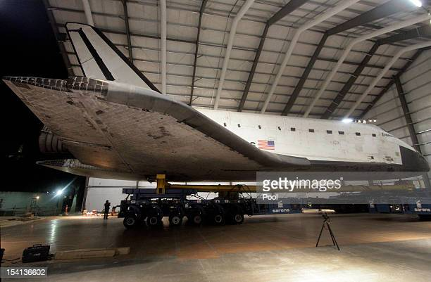 The Space Shuttle Endeavour is situated in it's new home at the hangar in the California Science Center on October 14 2012 in Los Angeles California...