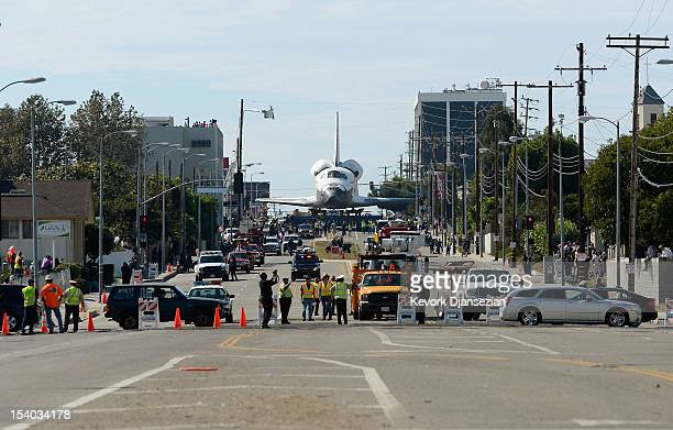 The space shuttle Endeavour is transported to the California Science Center in Exposition Park from Los Angeles International Airport on October 12...