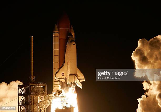 The space shuttle Endeavour lifts off from the launch pad 39A March 11 2008 at the Kennedy Space Center at Cape Canaveral Florida The shuttle is...