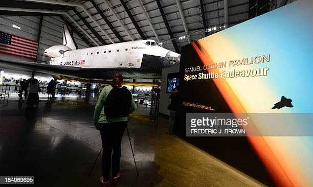 The Space Shuttle Endeavour on display at the Samuel Oschin Pavilion at the California Science Center during a media preview ahead of the opening of...