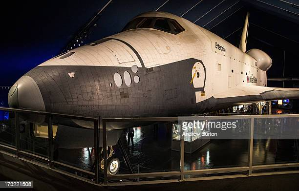 The space shuttle Enterprise is seen at the re-opening of the Shuttle's Pavilion housing on the flight deck of the Intrepid Sea, Air and Space Museum...