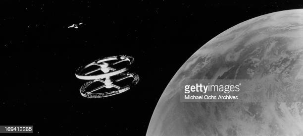 The space station orbits in space in a scene from the film '2001 A Space Odyssey' 1968