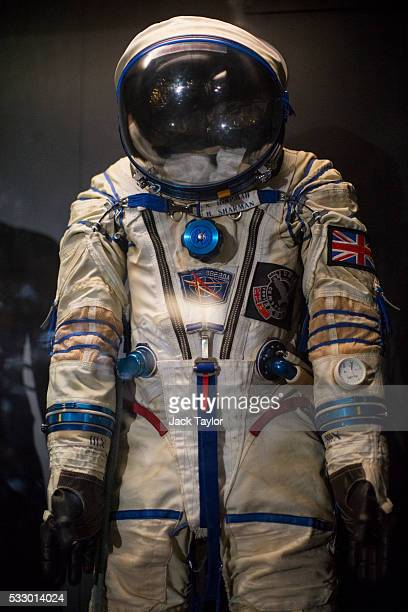 The space suit of British astronaut Helen Sharman is on display at the Science Museum on May 20 2016 in London England Ms Sharman became the first...