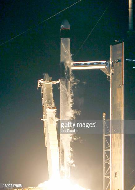 The SpaceX Falcon 9 rocket and Crew Dragon lift-off from launch Pad 39A at NASA's Kennedy Space Center for the first completely private mission to...