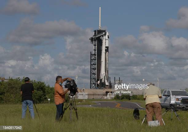 The SpaceX Falcon 9 rocket and Crew Dragon sit on launch Pad 39A at NASA's Kennedy Space Center as it is prepared for the first completely private...
