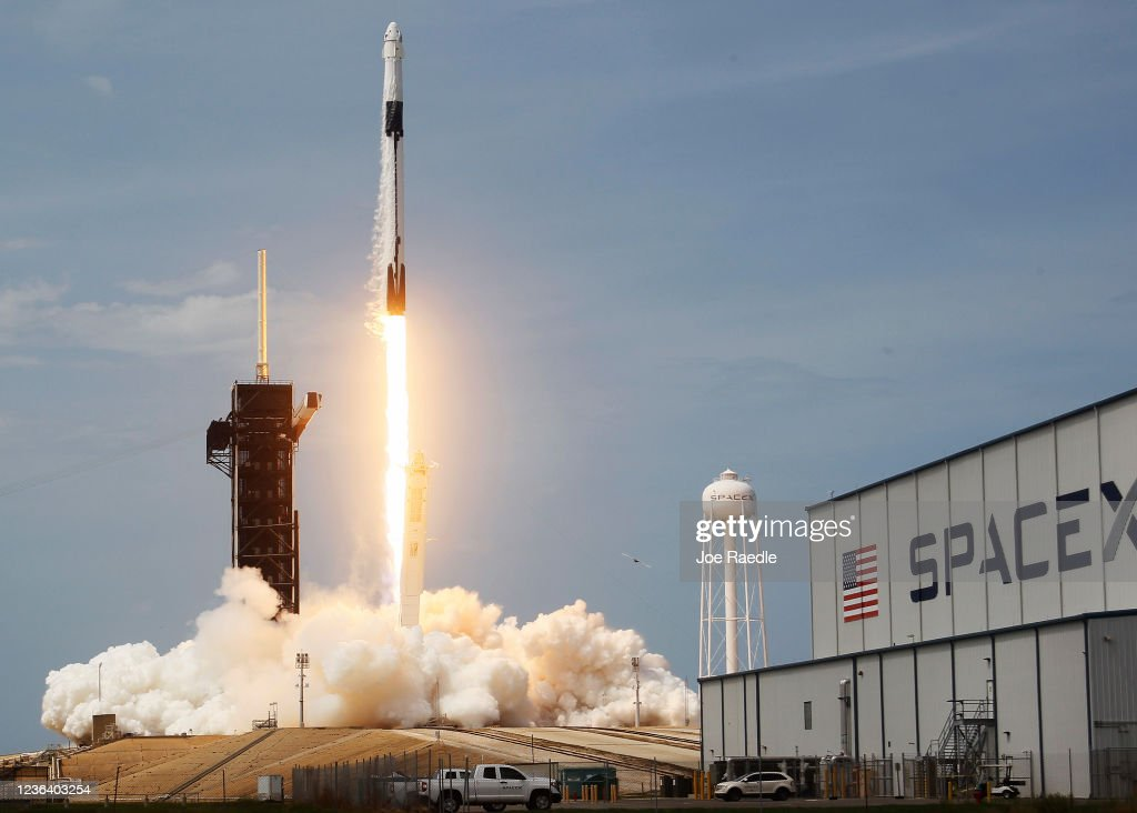 SpaceX Falcon-9 Rocket And Crew Dragon Capsule Launches From Cape Canaveral Sending Astronauts To The International Space Station : News Photo