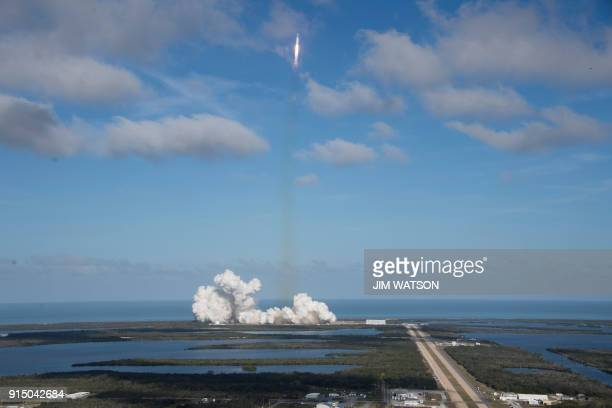 The SpaceX Falcon Heavy launches from Pad 39A at the Kennedy Space Center in Florida on February 6 on its demonstration mission The world's most...