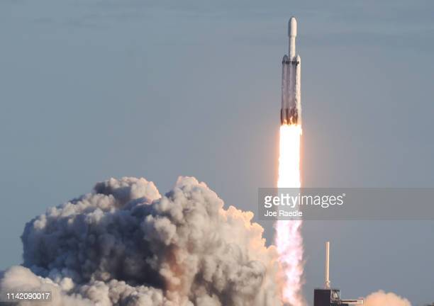 The SpaceX Falcon Heavy rocket lifts off from launch pad 39A at NASA's Kennedy Space Center on April 11, 2019 in Titusville, Florida. The rocket is...