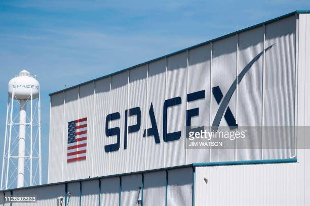 The SpaceX hangar on Pad 39A on March 1 at Kennedy Space Center in Florida on March 1, 2019. - Liftoff of the SpaceX Falcon 9 for Demo-1, the first...