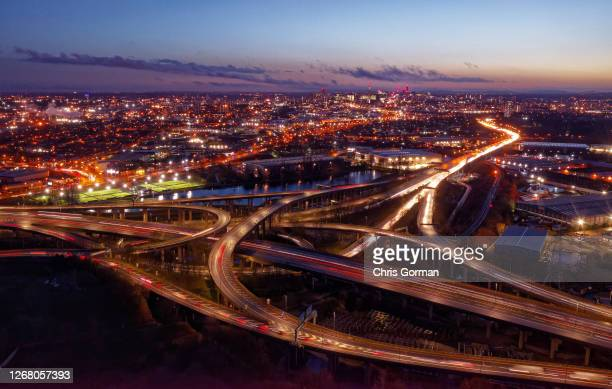 The Spaghetti Junction the junction that connects the M6 and A38 expressway to central Birmingham lights up with rush hour traffic on January 72020...