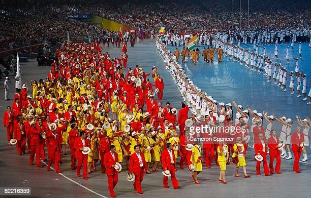 The Spain delegation enters the stadium during the Opening Ceremony for the 2008 Beijing Summer Olympics at the National Stadium on August 8, 2008 in...