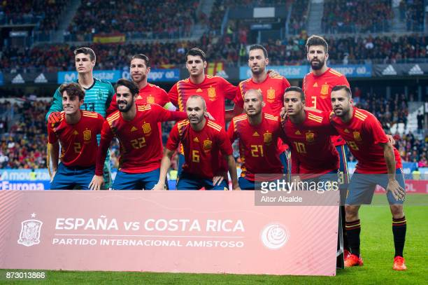 The Spain line up for a team photo prior to the international friendly match between Spain and Costa Rica at La Rosaleda Stadium on November 11 2017...