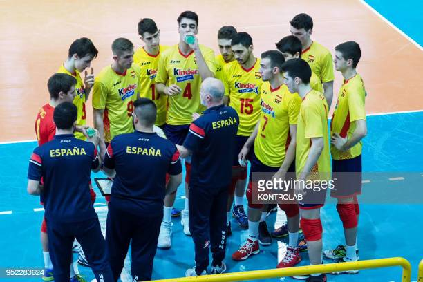 The Spain National Team in the qualifying tourney for the European Under 20 Volleyball Championships