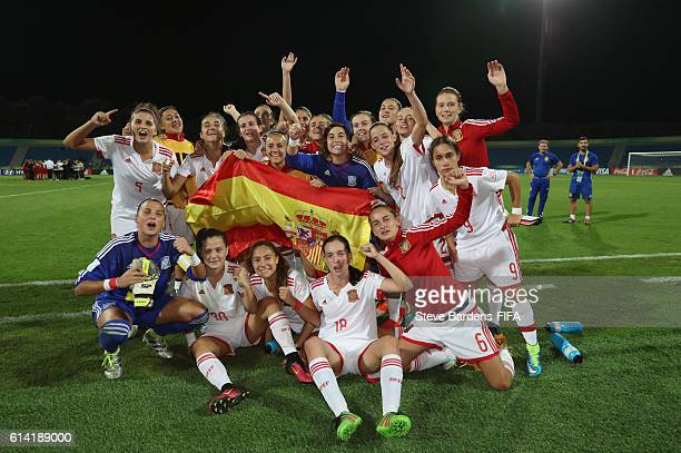 The Spain players celebrate their victory over Germany after the FIFA U17 Women's World Cup Jordan 2016 quarter final match between Germany and Spain...