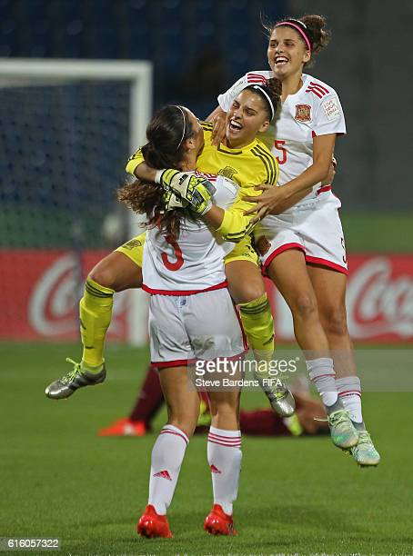 The Spain players celebrate their victory over Venezuela during the FIFA U17 Women's World Cup Jordan 2016 third place play off match between...