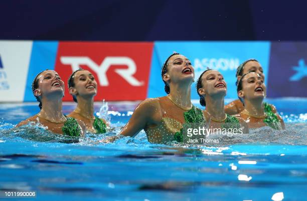 The Spain team compete in the Team Technical Routine Final during the synchronised swimming on Day five of the European Championships Glasgow 2018 at...
