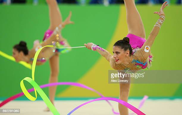 The Spain team compete in the Women's group allaround qualifying event of the Rhythmic Gymnastics at the Rio Olympic Arena during the Rio 2016...