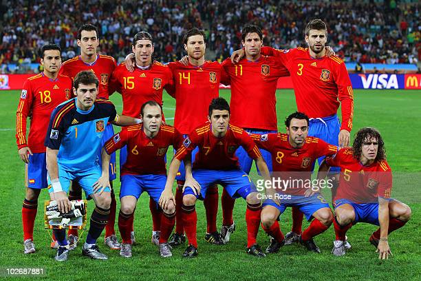 The Spain team line up ahead of the 2010 FIFA World Cup South Africa Semi Final match between Germany and Spain at Durban Stadium on July 7 2010 in...