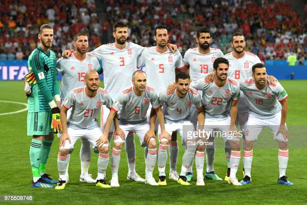 The Spain team line up ahead of the 2018 FIFA World Cup Russia group B match between Portugal and Spain at Fisht Stadium on June 15 2018 in Sochi...