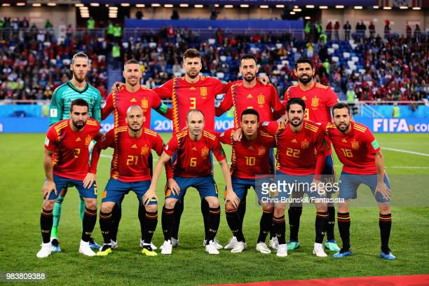 The Spain team line up before the 2018 FIFA World Cup Russia group B match between Spain and Morocco at Kaliningrad Stadium on June 25 2018 in...