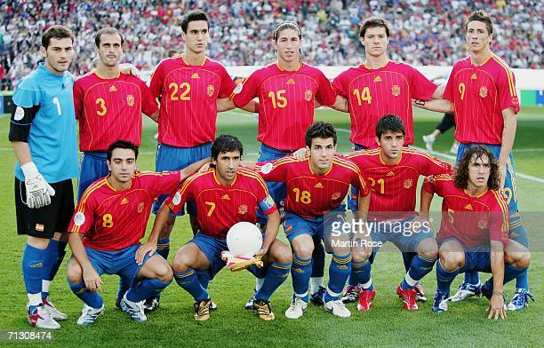 The Spain team line up for a group photo prior to the FIFA World Cup Germany 2006 Round of 16 match between Spain and France played at the Stadium...