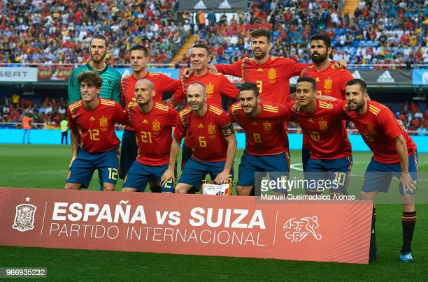 The Spain team line up for a photo prior to kick off during the International Friendly match between Spain and Switzerland at Estadio de La Ceramica...