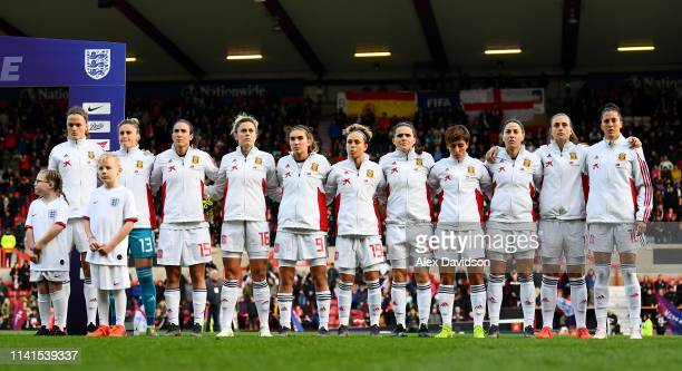 The Spain team line up for the anthem during the International Friendly between England Women and Spain Women at the County Ground on April 09, 2019...