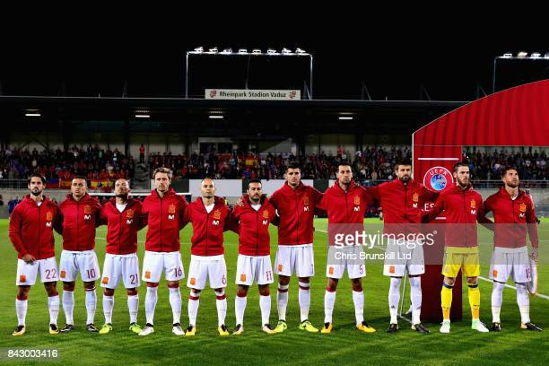 The Spain team line up for the national anthem before the FIFA 2018 World Cup Qualifier between Liechtenstein and Spain at Rheinpark Stadion on...