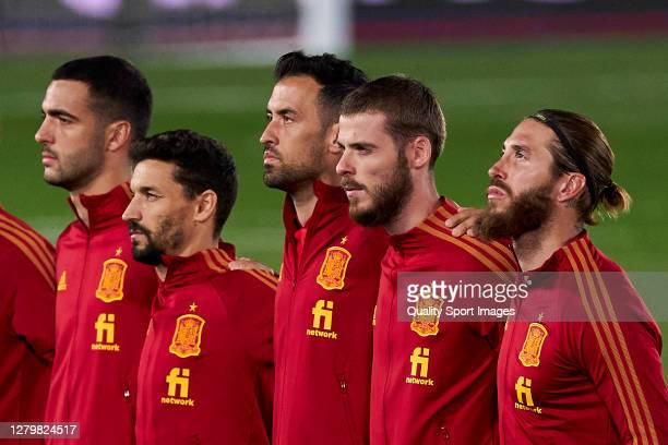 The Spain team line up for the national anthem prior to the game during the UEFA Nations League group stage match between Spain and Switzerland at...