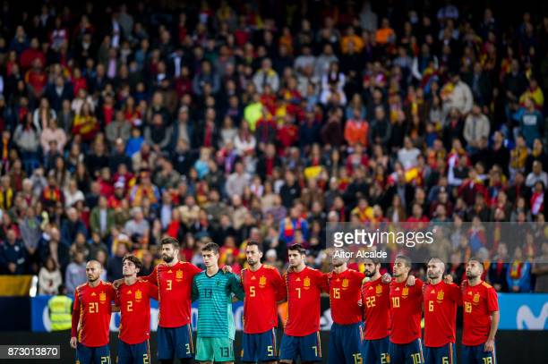 The Spain team line up prior to the international friendly match between Spain and Costa Rica at La Rosaleda Stadium on November 11 2017 in Malaga...