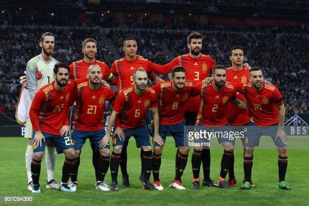 The Spain team line up prior to the International friendly match between Germany and Spain at EspritArena on March 23 2018 in Duesseldorf Germany
