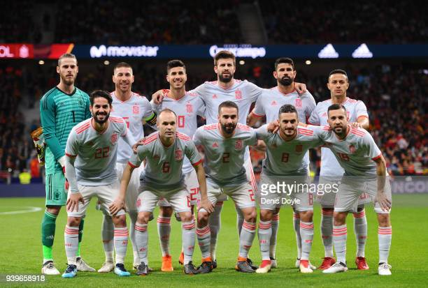 The Spain team lineup during the International Friendly match between Spain and Argentina at Wanda Metropolitano stadium on March 27 2018 in Madrid...