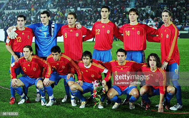 The Spain Team pose before the FIFA 2006 World Cup Playoff match between Slovakia and Spain on November 16, 2005 at The Slovana Stadium in...